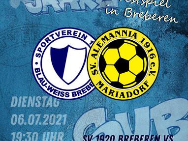 Nächstes Highlight: Alemannia Mariadorf zu Gast in Breberen