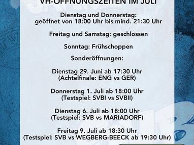 VH Öffnungszeiten im Juli