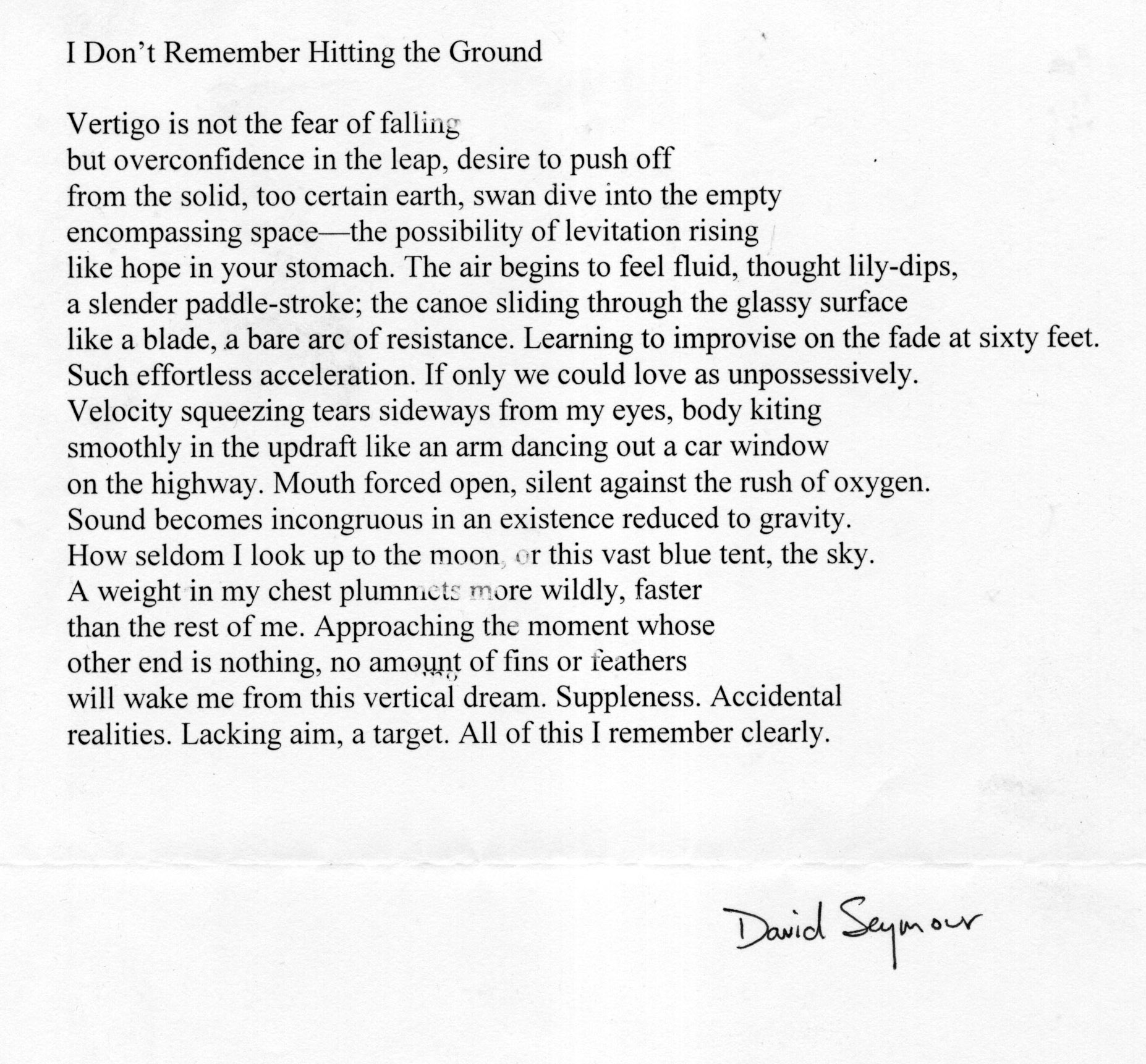 David Seymour Writing