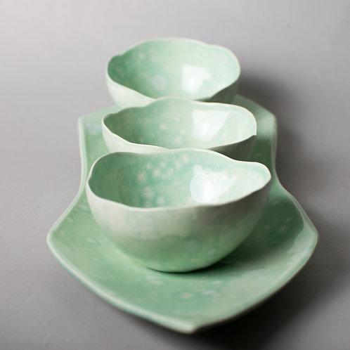 """Morning Dew"" set of 3 bowls and platter"
