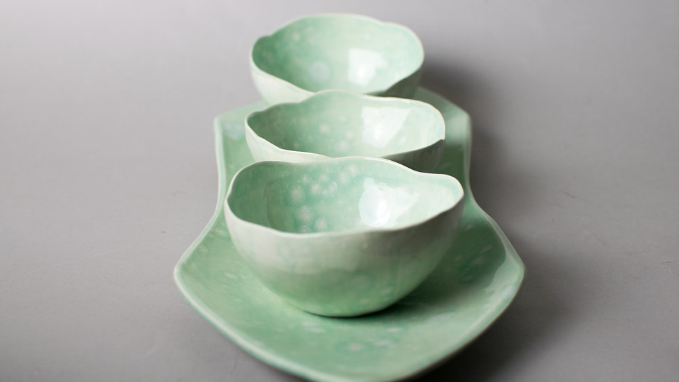 """Morning Dew"" set of 3 bowls and platter"