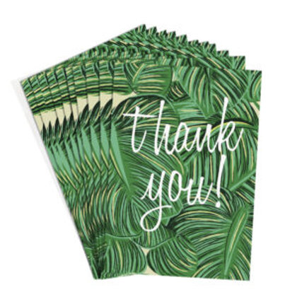 Thank You Cards Green Leaves Pack Of 10