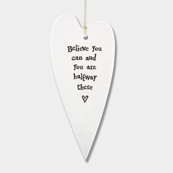 East Of India Hanging Heart Decoration Believe You Can