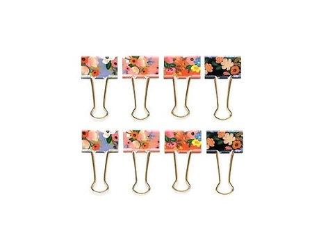 Lively Floral Binder Clips set of 8