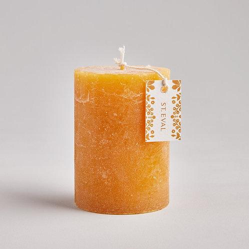 St Evals Pillar Candle Fold Amber