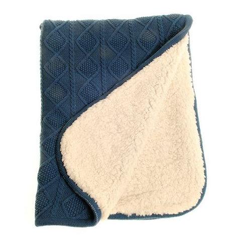 Cable Knit Blue Sherpa Fleece Blanket