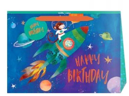 Happy Birthday Space Monkey Gift Bag