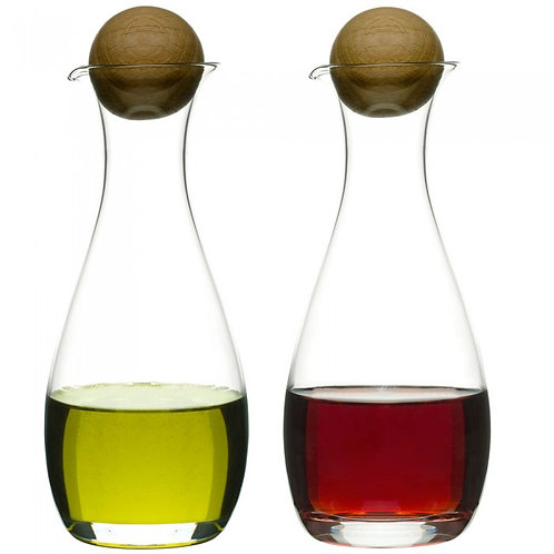 Oil And Vinegar Bottles With Oak Stoppers