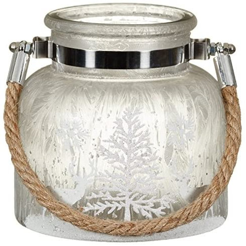 Frosted Christmas Lantern Silver