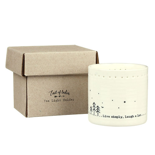 East Of India Live Simply Laugh A lot Candle Holder