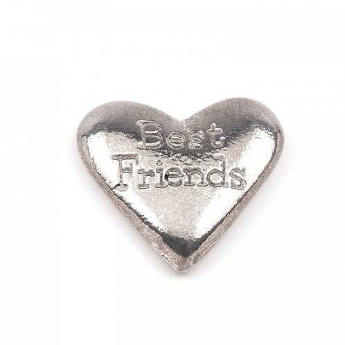 Best Friends Pewter Heart Pebble