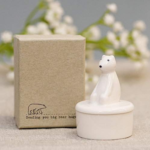 East Of India Polar Bear Porcelain Pot