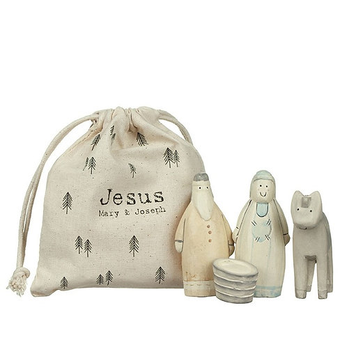 Wooden Nativity Set In Cotton Bag
