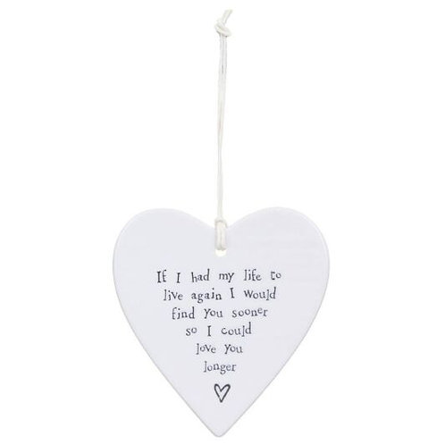 East Of India Hanging Heart Decoration If I had My Life Again