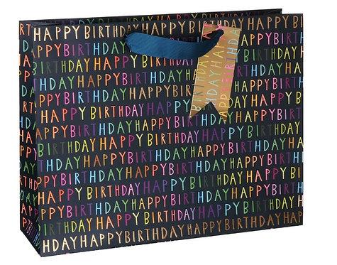 Blue Birthday Script Landscape Large Gift Bag