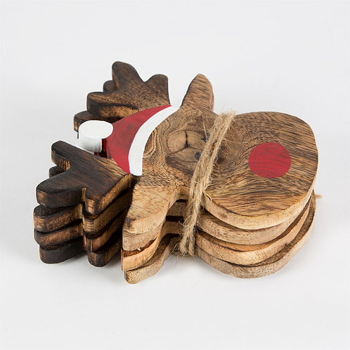 Wooden Reindeer Face Coasters Set Of 4