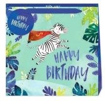Happy Birthday Zebra Gift Bag
