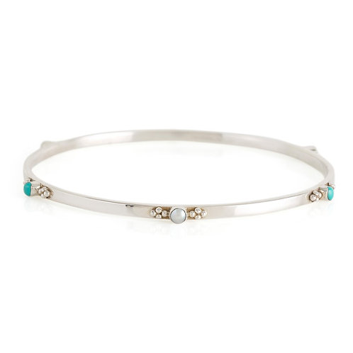 Charlotte's Web Rajput Serenity Turquoise And Pearl Bangle