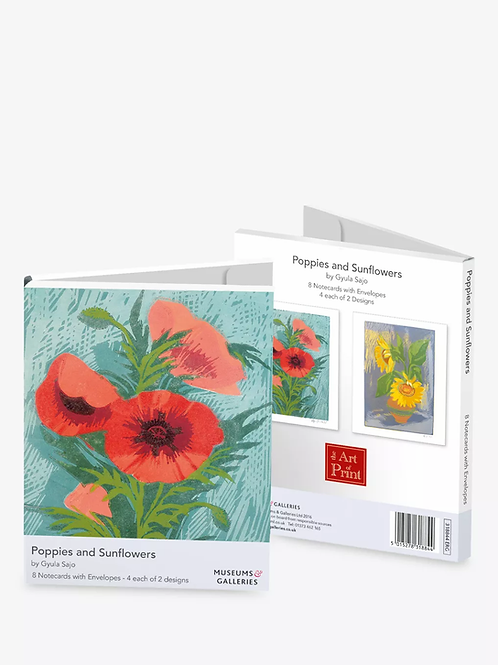 Poppies And Sunflowers Pack Of 8 Cards