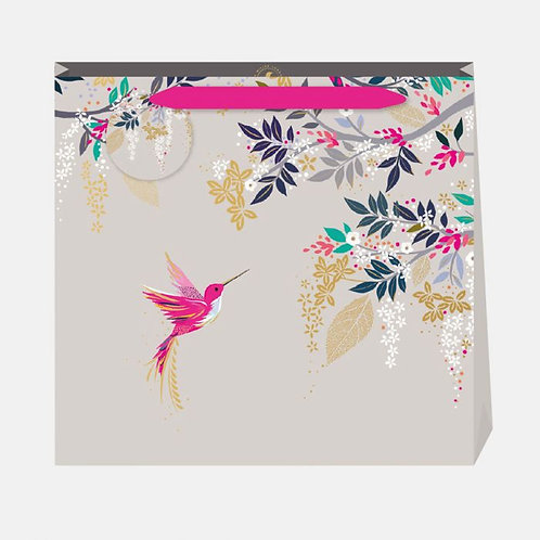 Sara Miller Large Hummingbird Grey Gift Bag