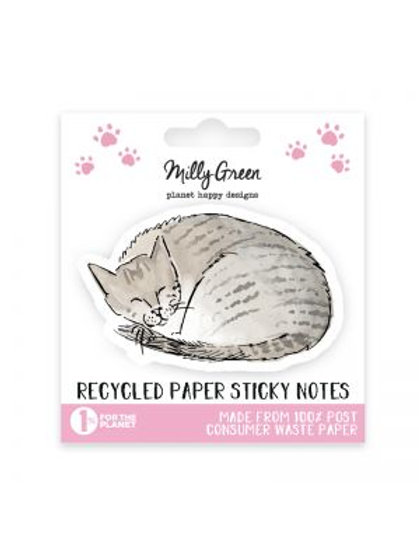 Milly Green Curious Cat Sticky Notes Eco