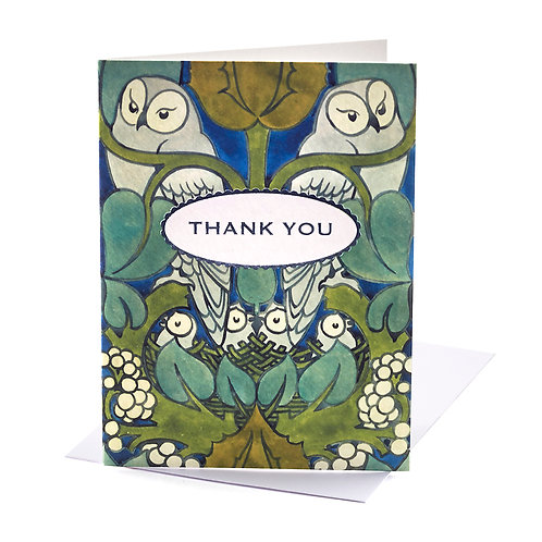 V&A Owl Thank You Cards Pack Of 8