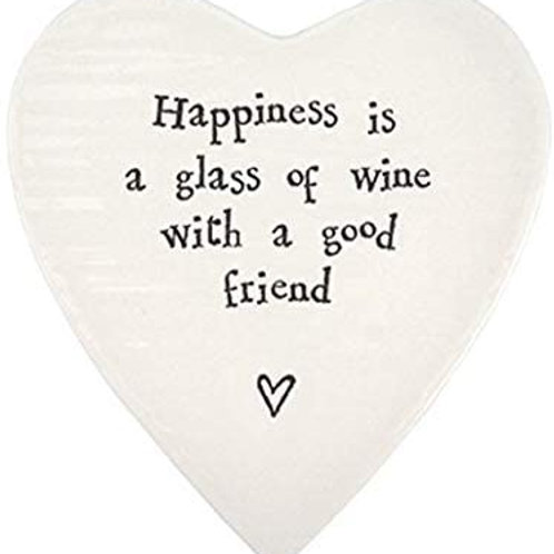 East of India Heart Coaster Happiness Is A Glass Of Wine