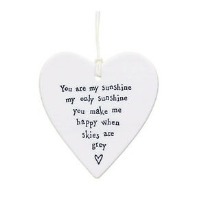 East Of India Hanging Heart Decoration You Are My Sunshine