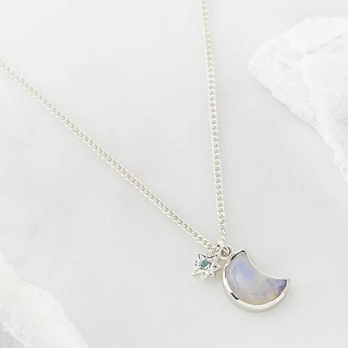 Charlotte's Web Celestial Crescent Blue Topaz Moon Necklace