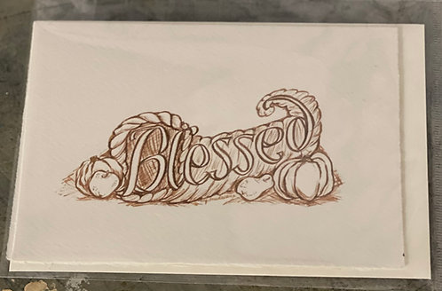Blessed (Sepia)greeting card and envelope