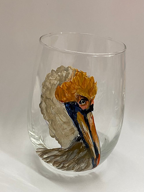 Handpainted Pelican on Stemless Glass