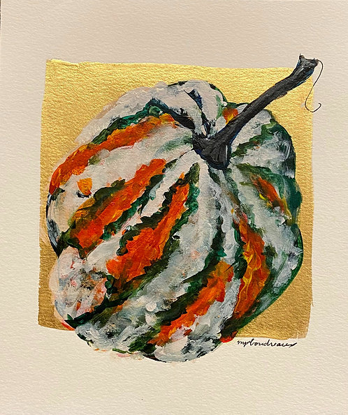Multi color Gourd on Paper 8x10