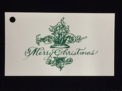 Green Merry Christmas Sentiment Tag