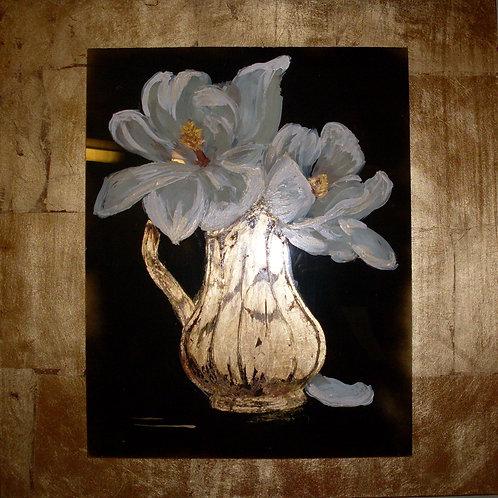 Magnolias in Gold Vase