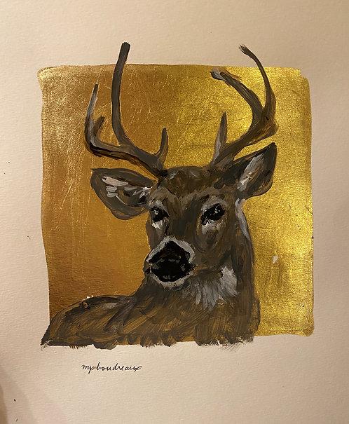 Deer on Gold on Paper Unframed