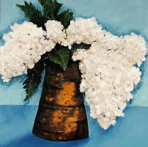 Flowers in Rust Vase