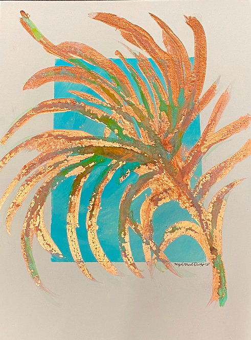 Distressed Copper Frond on Turquoise