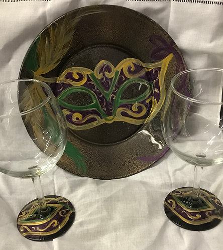 Mardi Gras Handpainted  Glassware