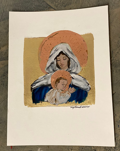Mary and Jesus on Gold