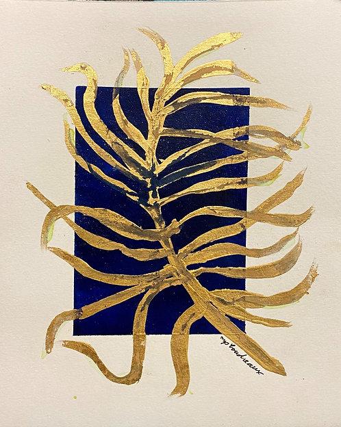 Gold leaf palm leaf on Navy