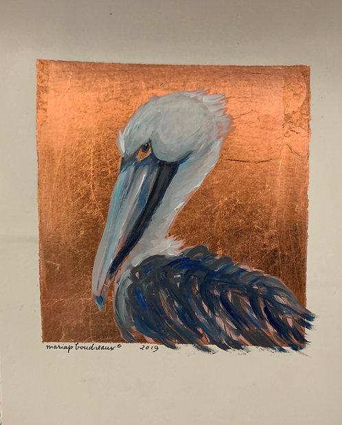 Blue Pelican on Paper