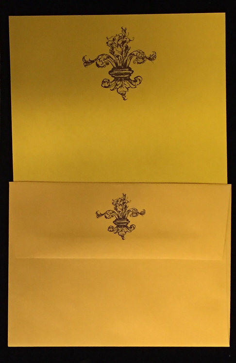 Purple and Gold Stationary Sheets and Envelopes