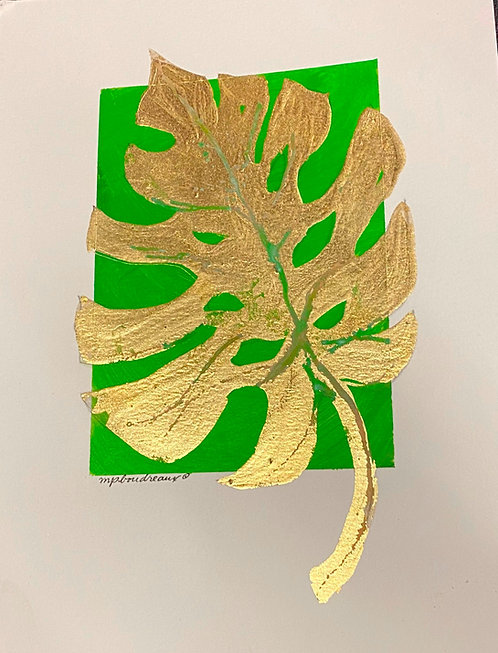 Gold Palm Leaf on Gold