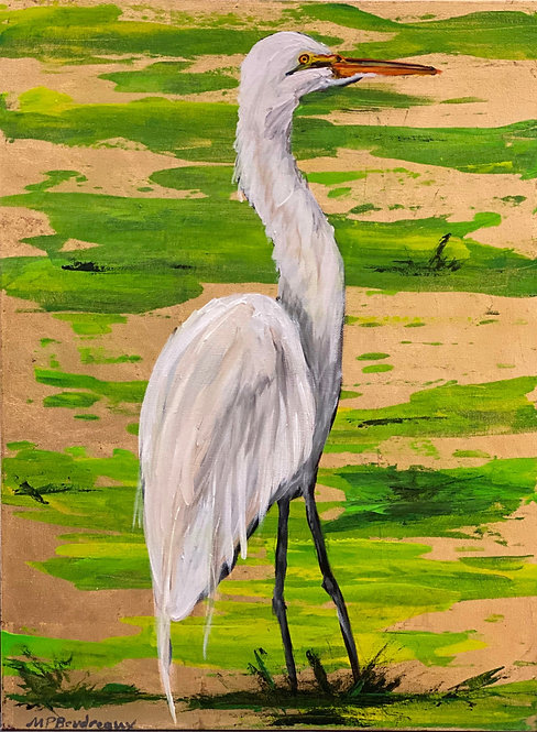 Egret in Swamp on Gold I