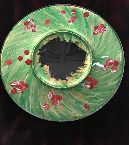 Hand painted Holiday Wreath Plate