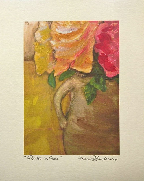 """Roses in Vase"" - Artist Enhanced Print"