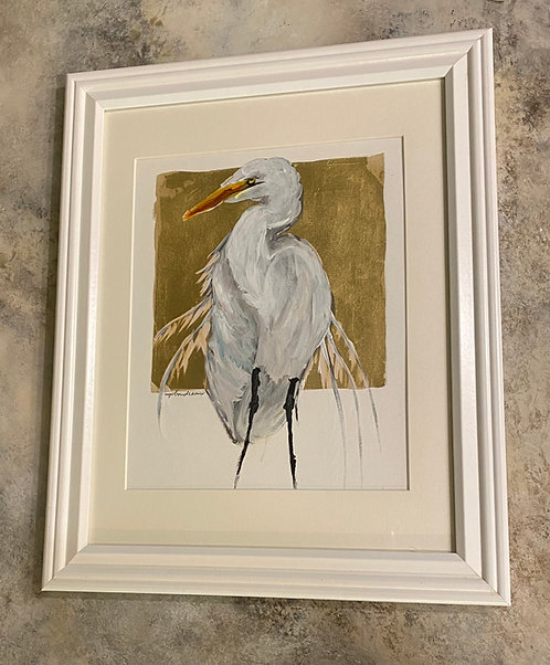 Egret on Gold Framed
