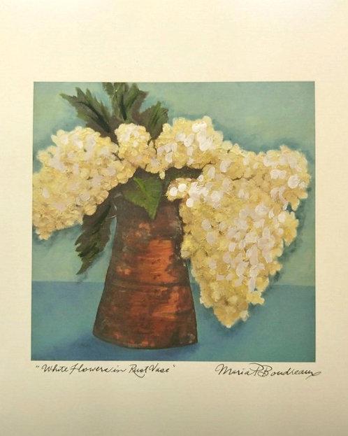 """""""White Flowers in Rust Vase""""- Artist Enhanced Prin"""