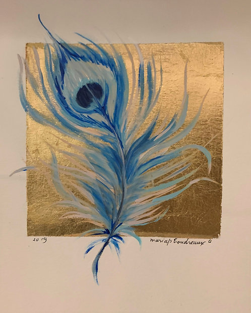 Blue Peacock Feather on Paper