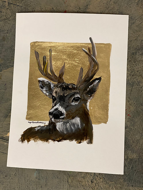 Deer on Gold on Paper